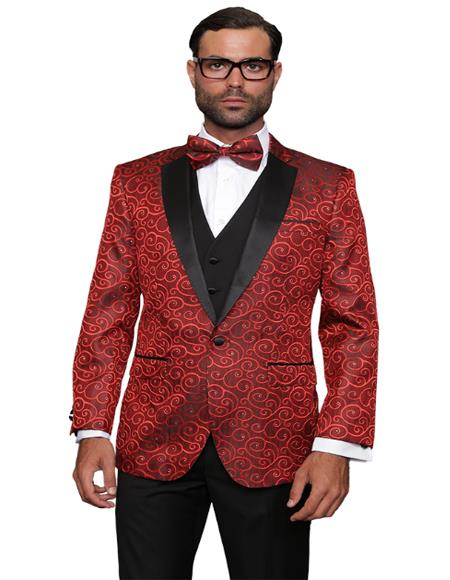 Red Fashion Prom / Wedding / Stage Blazer Plus Bowtie Also Available in Big and Tall