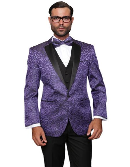 Purple Fashion Prom / Wedding / Stage Blazer Plus Bowtie Also Available in Big and Tall