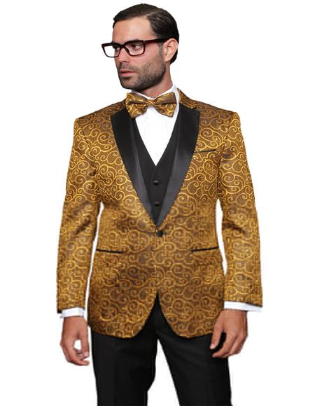 Gold Fashion Prom / Wedding / Stage Blazer Plus Bowtie Also Available in Big and Tall