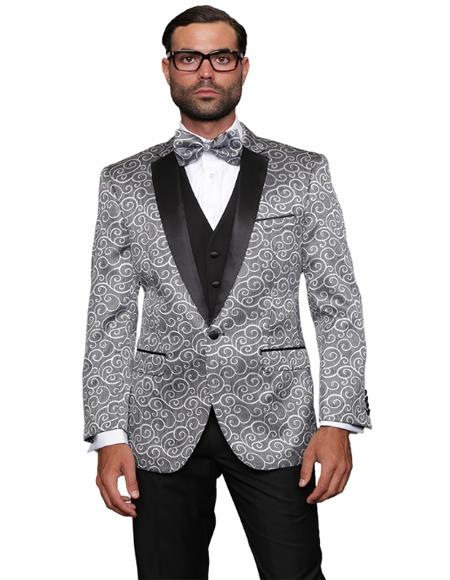 Silver Fashion Prom / Wedding / Stage Blazer Plus Bowtie Also Available in Big and Tall