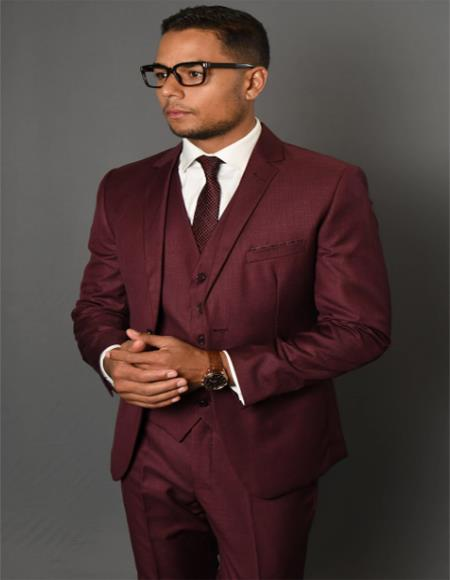 Solid Pattern Vested Tapered Skinny Slim Fit Burgundy Suit