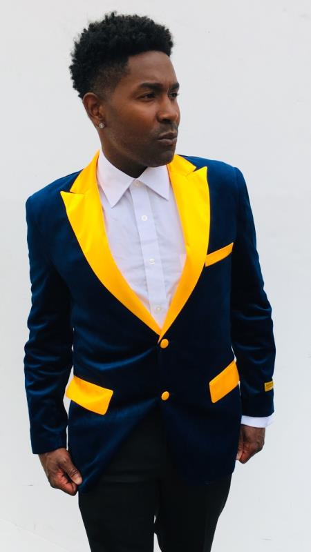 Navy Blue and Goldish Yellowish Lapel Velvet Mens blazer With Matching Bowtie