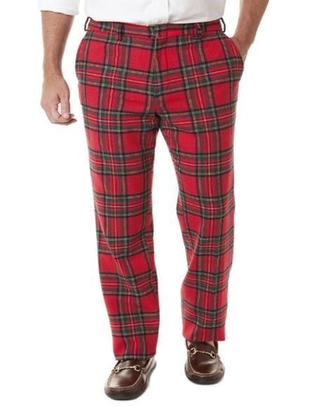 Mens Tartan ~ Plaid ~ Window Pane Pattern Red Pants Flat Front Cotton Fabric