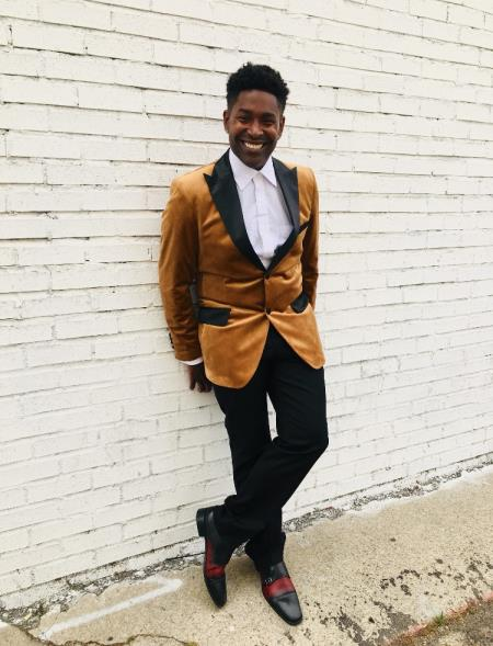 Mens Rust ~ Copper Light Brown Velvet Fabric Tuxedo Sport Coat + Matching Bowti