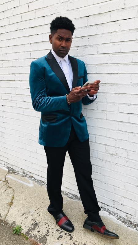Teal Blue Velvet Fabric Tuxedo Dinner Jacket Blazer Sport Coat + Matching Bowtie