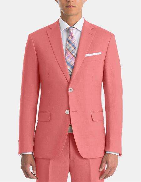 Men's Classic-Fit Red Linen Sport Coat