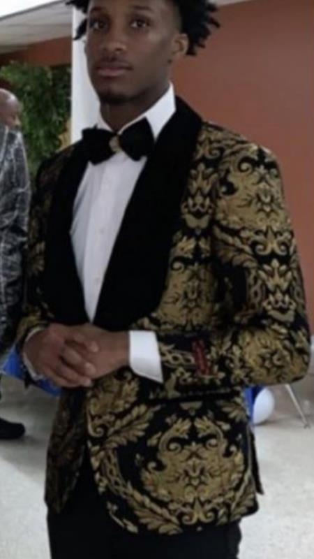 Men's Shawl Lapel Suit Black ~ Gold