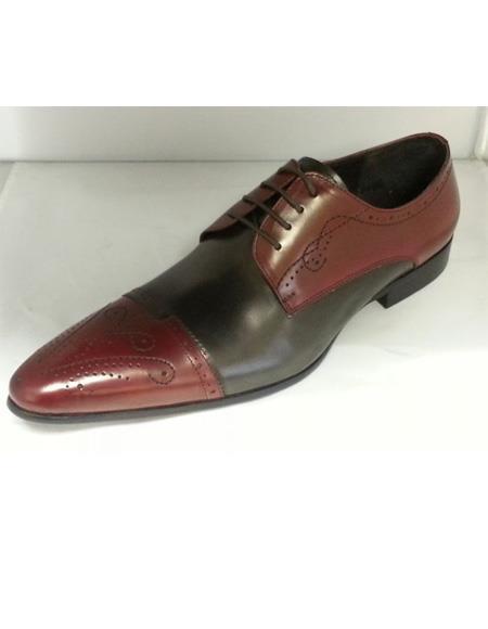 ZOTA Men's Premium Soft Genuine leather  Unique Hand Stitching Dress Shoe In Tan/Navy