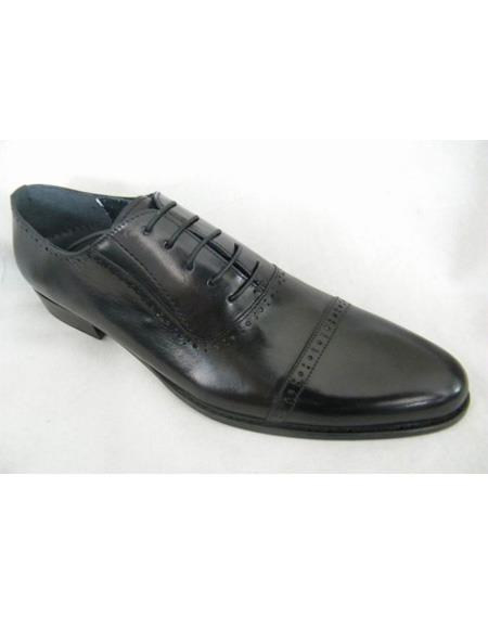 ZOTA Men's Premium Black Dotted Stripe Pattern Soft Genuine leather Dress Shoe