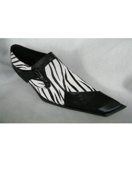 Zota Mens Shoe - Zota Shoes Mens Black/White Zebra Skin Design Two Toned Dress Shoe