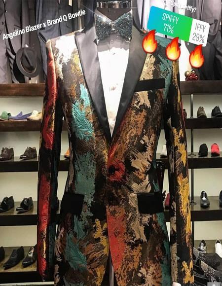 Mens Suit Black ~ Gold