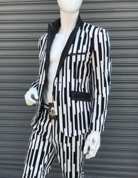 Mens Peak Lapel Suit Black ~ White