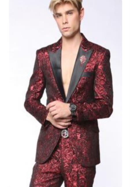 Mens Peak Lapel Suit Red ~ Black