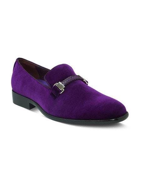 Mens Purple Velvet Smoker Dress Loafter