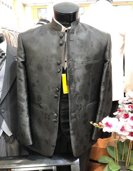 Mens Besom Pocket Gray Suit