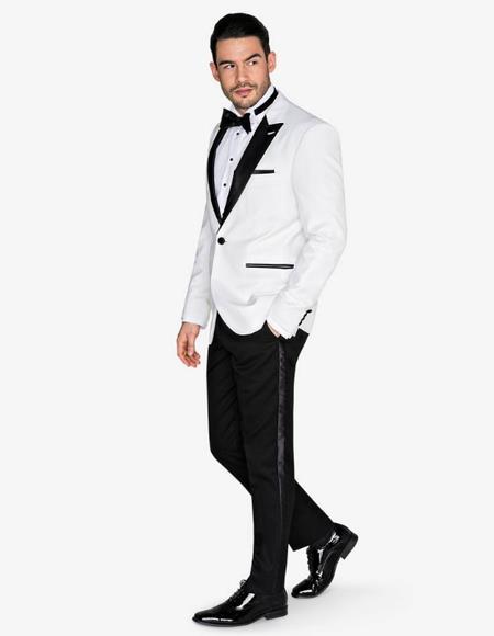 Mens White Velvet Fabric Tuxedo With Black Lapel with black Pants