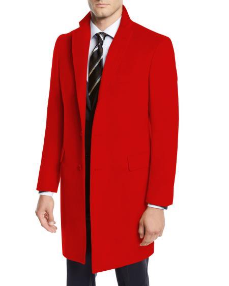 Men's Red Three Quarter Wool Car Coat ~ Designer Men's Wool Men's Peacoat Sale