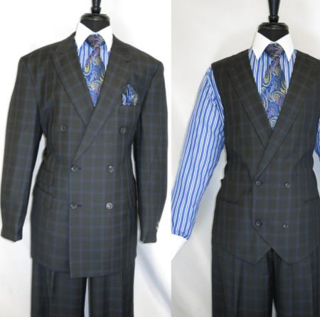 Royal Diamond Mens Double Breasted 3 Piece Suit Jacket Charcoal ~ Grey