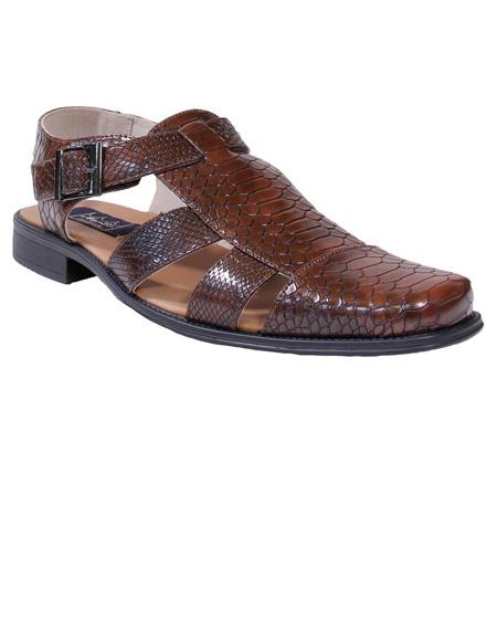Mens Brown Gator Print Majestic Closed Toe