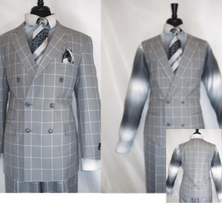 Royal Diamond Mens Double Breasted 3 Piece Suit Jacket Silver ~ Grey