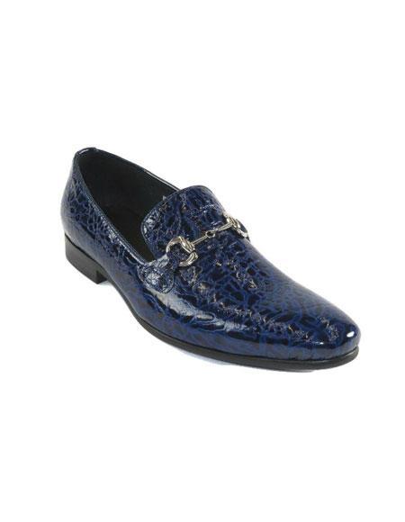 Men's Zota European Formal Dress Shoes Leather Alligator Print Slip On HX004 Blue