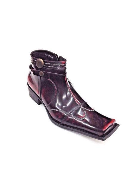 Mens Boot European Style Leather Zota Square Toe Zipper Studs G4H893-5 Wine