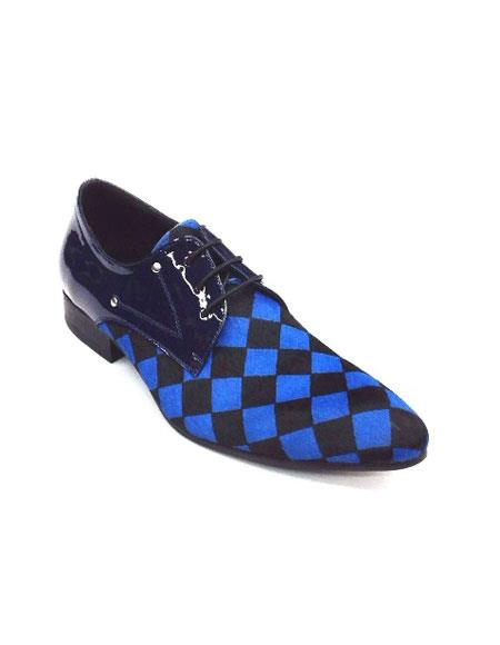 Men Fashion Shoes ZOTA Lace Up Pony Hair, Leather Checker Pointe Toe HX750 Blue