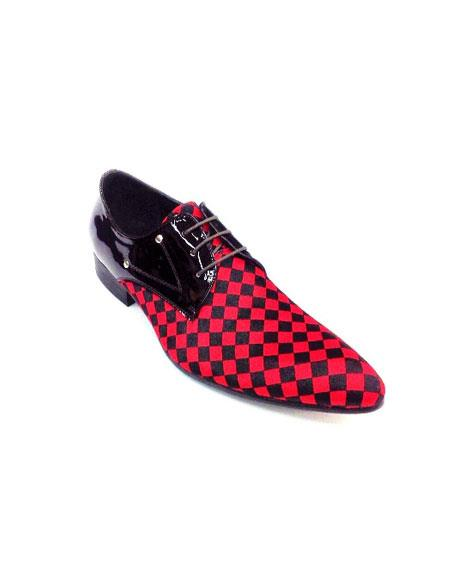 Men Fashion Two Toned Dress Shoe Zota Lace Up Pony Hair Leather Checker Pointe Toe HX750 Red - Red Men's Prom Shoe