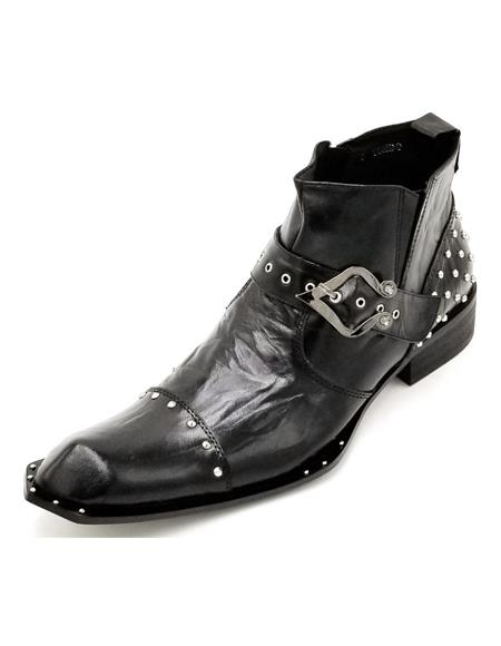 Men's Black Crinkle Leather Harness Strap Studded Zota Unique Ankle Cheap Priced Men's Dress Boot With jeans or Suit Best Fashion Dressy Leather Boot!