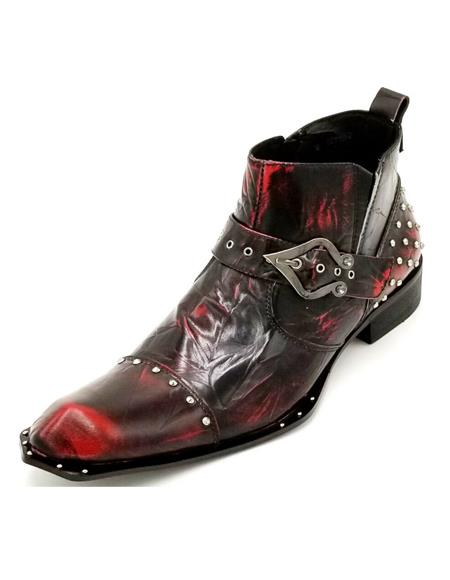 Mens Burgundy Crinkle Leather Harness Strap Studded Zota Unique Ankle Cheap Priced Mens Dress Boot With jeans or Suit Best Fashion Dressy Leather Boot!