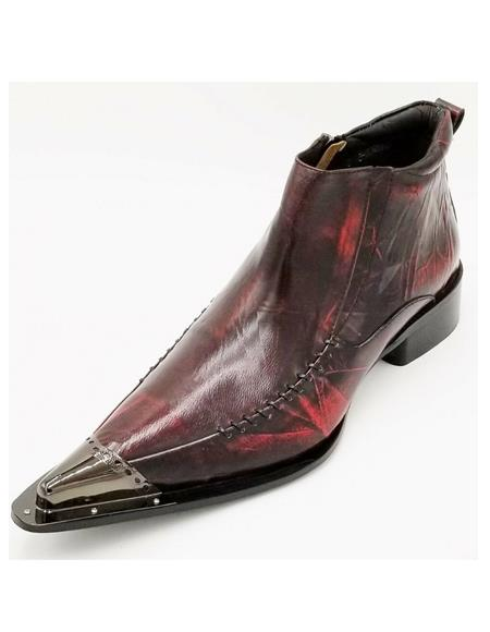 Mens Burgundy Pointed Toe Metal Tip Zota Unique Ankle Boot