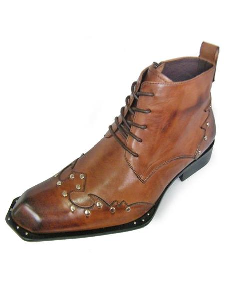 Mens Brown Leather Lace up Zota Unique Ankle Boot
