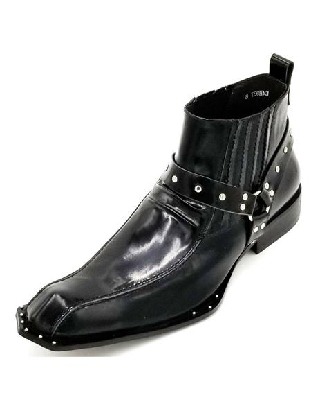 Men's Black Harness Strap Studded Zota Unique Ankle Cheap Priced Men's Dress Boot With jeans or Suit Best Fashion Dressy Leather Boot!