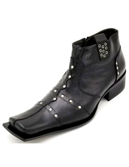Mens Black Square Toe Studded With Side Zipper Zota Unique Ankle Boot