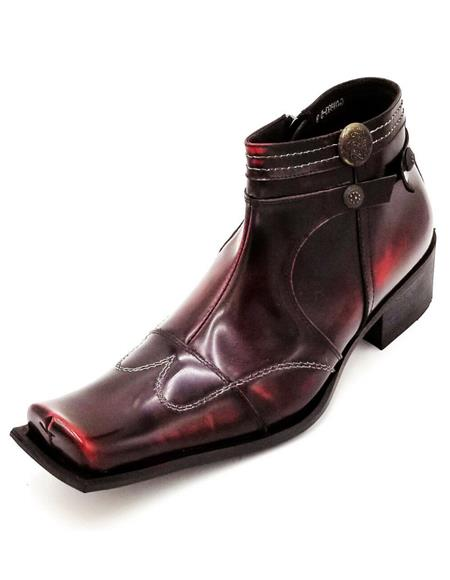 Men's Burgundy Square Toe Studded With Side Zipper Zota Unique Ankle Cheap Priced Men's Dress Boot With jeans or Suit Best Fashion Dressy Leather Boot!