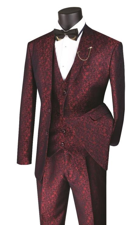Metallic Floral Paisley Vested 3 Piece Suit In Ruby