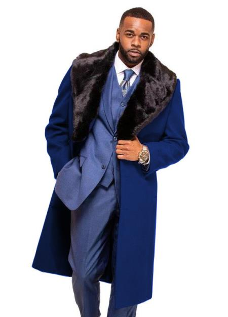 Navy Blue Overcoat ~ Long Mens Dress Topcoat -  Winter coat With Fur Collar in Cashmere and Wool Fabric Alberto Nardoni