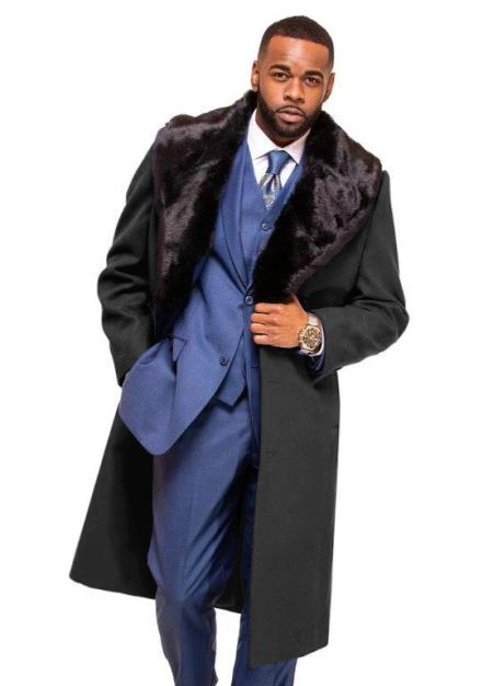 Charcoal Grey Overcoat ~ Long Mens Dress Topcoat -  Winter coat With Fur Collar in Cashmere and Wool Fabric Alberto Nardoni