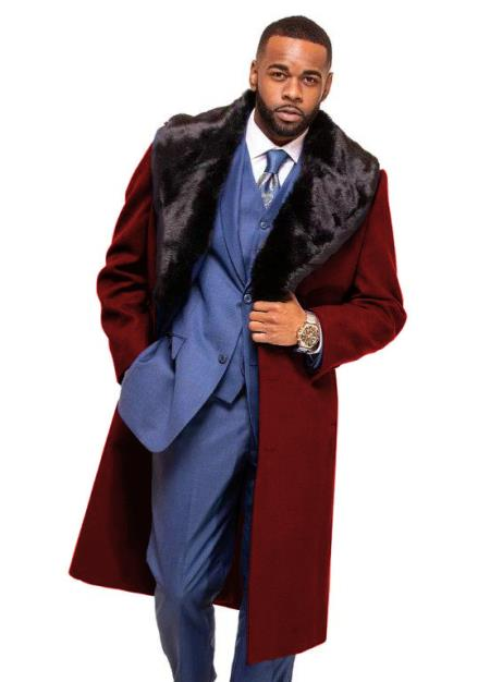 Burgundy Overcoat ~ Long Men's Dress Topcoat -  Winter coat With Fur Collar in Cashmere and Wool Fabric Alberto Nardoni