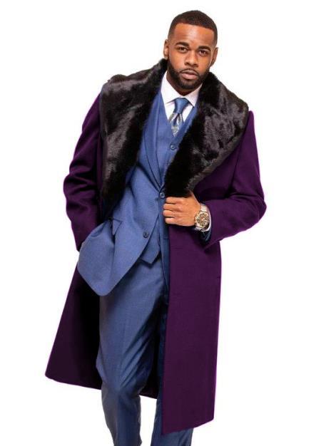 Dark Burgundy Overcoat ~ Long Men's Dress Topcoat -  Winter coat With Fur Collar in Cashmere and Wool Fabric Alberto Nardoni