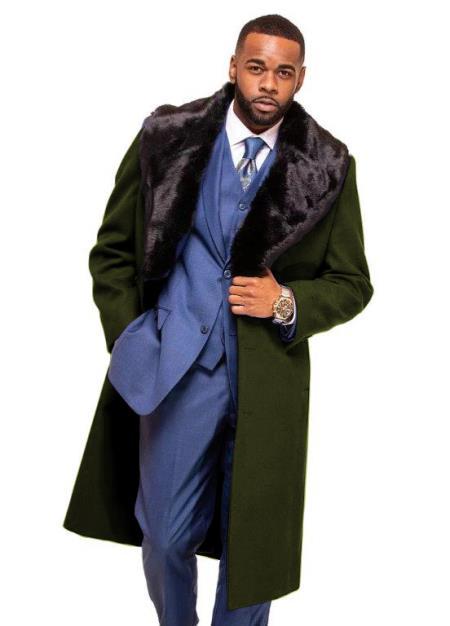 Dark Olive Overcoat ~ Long Men's Dress Topcoat -  Winter coat With Fur Collar in Cashmere and Wool Fabric Alberto Nardoni