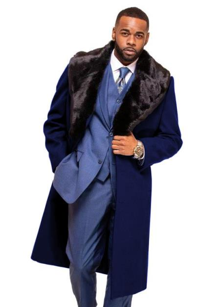 Dark Navy Blue Overcoat ~ Long Mens Dress Topcoat -  Winter coat With Fur Collar in Cashmere and Wool Fabric Alberto Nardoni