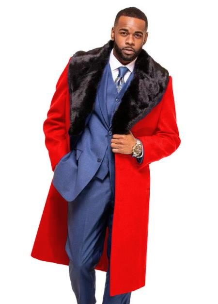Red Overcoat ~ Topcoat With Fur Collar in Cashmere and Wool Fabric Alberto Nardoni Pre order limited Edition To Ship Jan/1/2020