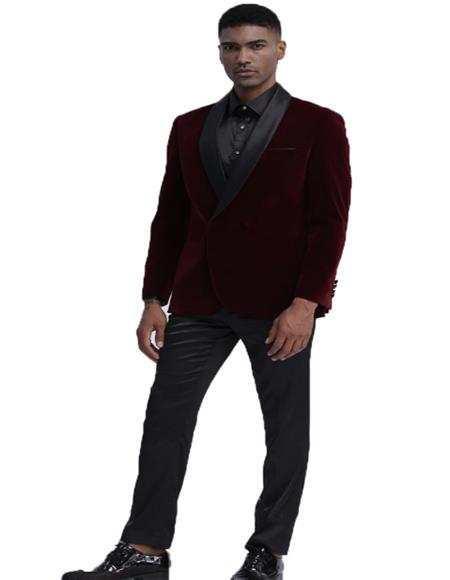 Mens Burgundy Side Vents Double Breasted Velvet Tuxedo