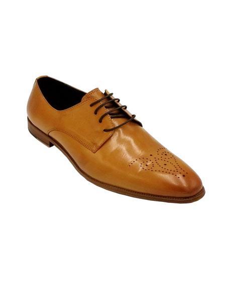 Men's Dress Shoe Tan  Color Shoe Unique Zota Shoe