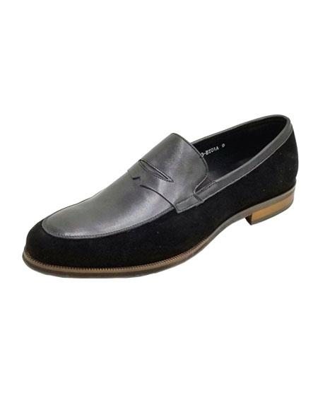 Mens Dress Shoe Black/Black Unique Zota Two Toned Dress Shoe