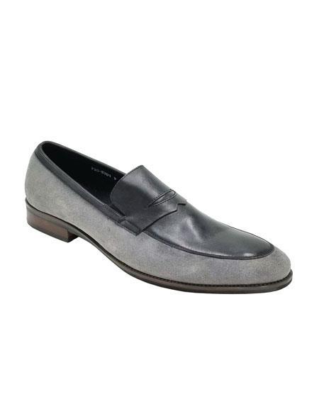 Men's Dress Shoe Grey ~ Black Unique Zota Shoe
