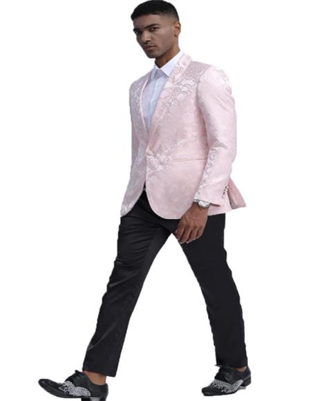 Pink Slim Fit Tuxedo Dinner Jacket for Men
