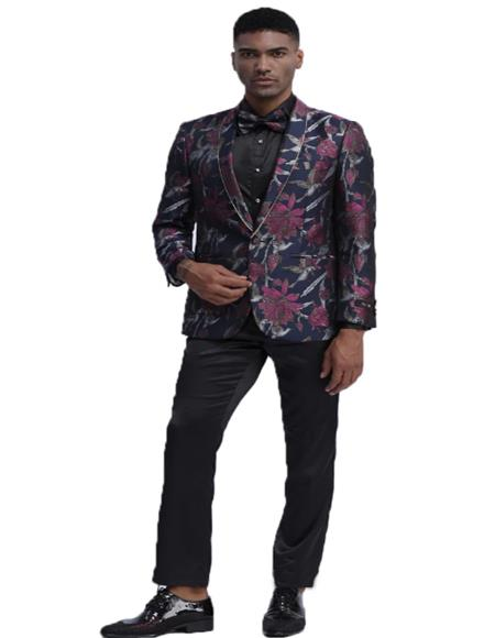 Slim Fit Tuxedo Dinner Jacket Paisley ~ Floral Pattern Fashion Blazer Perfect for Prom & Wedding & Stage Navy Blue