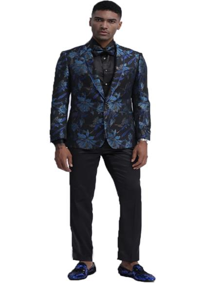 Blue and Black Floral Pattern Fashion Blazer Perfect for Prom